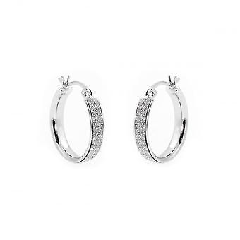 Eternity Sterling Silver Small Round Stardust Creole Hoop Earrings