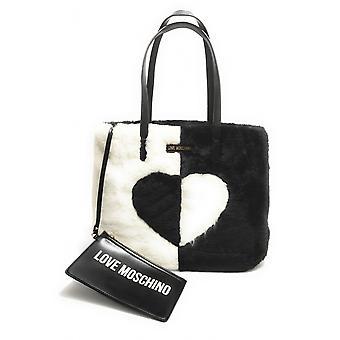 Nainen Laukku Rakkaus Moschino ostoksilla Clutch Eco-fur Musta / Valkoinen B21mo146