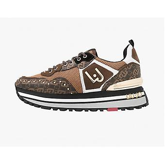 Tênis Sapatos Liu-jo Wonder Maxi Saffiano Monogram/ Camurça/ Malha Tan Woman D21lj09