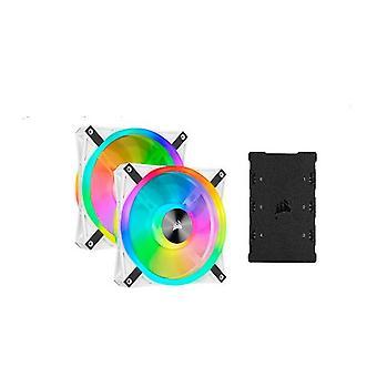 Corsair Ql140 Rgb White Dual Fan Kit With Lighting Node Core
