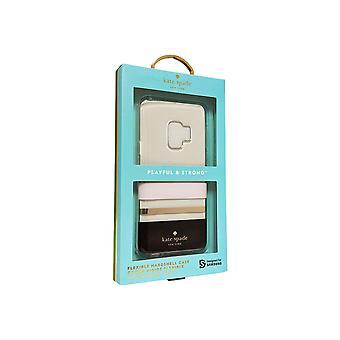 kate pade flexible Hardshell caso para Galaxy S9 - Charlotte Stripe negro / crema Blush / lámina de oro