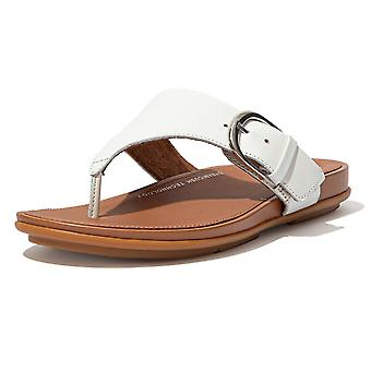 FitFlop Graccie™ Leather Toe Post Sandals In Urban White