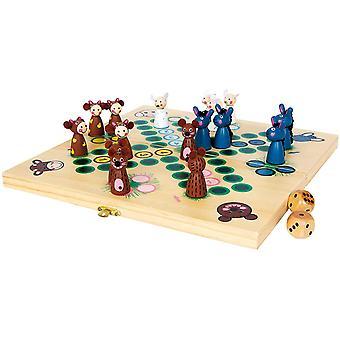 """HanFei 6257 Brettspiel """"Farmtiere"""" aus Holz, Gesellschaftsspiel Ludo mit Tieren als Spielfiguren, ab"""