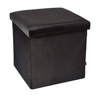 aufbewahrungsbox/Pouffe 38 cm 55 Liter Samt schwarz