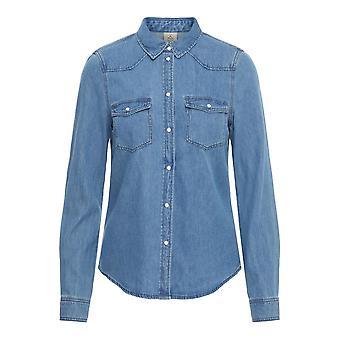 Vero Moda Womens Slim Fit Denim Shirt 2 Pockets Buttons Long Sleeve Top