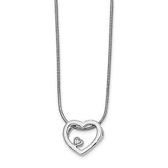 Polished Lobster Claw Closure White Ice .03ct Diamond Love Heart Necklace 18 Inch Jewelry Gifts for Women