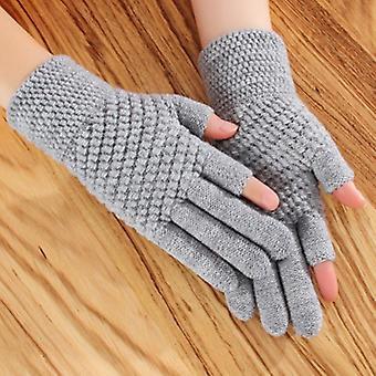 Halbfinger Fahrradhandschuhe, Frauen Winter Warm Handschuhe H68