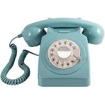FengChun 746ROTARYBLU Retro Telefon mit Whlscheibe im 70er Jahre Design Blau