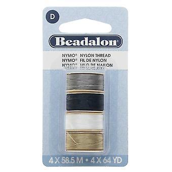 "Nymo Nylon Bead Thread Variety Pack, Size D / 0.30mm / .012"", Four 64-Yard Spools, Earth Tones"