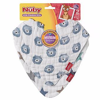 Nuby Muslin Bandana Bib Twin Pack PANDA
