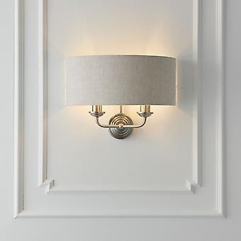 Endon Lighting Highclere 2lt Wall Light In Chrome With Natural Shade