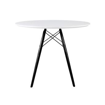 Fusion Living Eiffel Inspired Medium White Circular Dining Table With Black Wood Legs