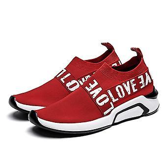 Män andningsbara luftnät slip-on icke-läder lätta skor