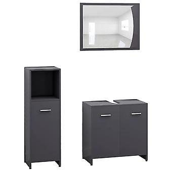 vidaXL 3 kpl. Kylpyhuoneen huonekalut setti kiiltävä harmaa lastulevy