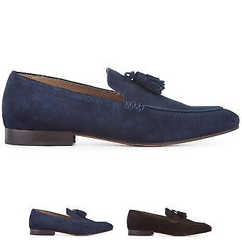 Mens H By Hudson Bolton Suede Tassel Smart Slip On Work Office Shoes