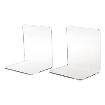 2Pcs Clear Acrylic Bookends L Shaped Desk Organizer Desktop Book Holder School Stationery