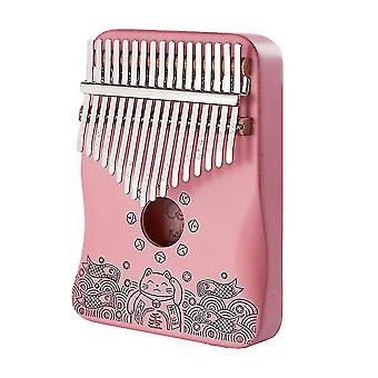 17 Ключи Калимба Большой палец фортепиано Счастливый кот музыкальный инструмент для начинающих розовый