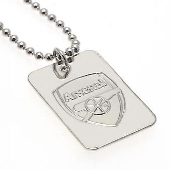 Arsenal FC Verzilverde Dog Tag & Chain Officieel gelicentieerd product