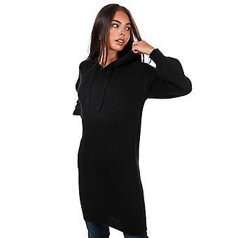kvinners modige sjel strikket hettegenser kjole i svart