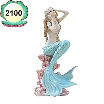 حوض السمك البحر الأبيض المتوسط نمط الديكور حورية البحر الأميرة التمثال غرفة النوم الرئيسية مكتب الديكور