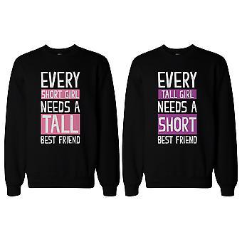Groß und kurze bester Freund passende Sweatshirts für beste Freunde BFF Geschenk