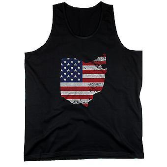 VOI todeta USA lippu miesten Hihaton toppi Ohio Yhdysvaltain lipun säiliöt