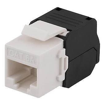 DELTACO Cat6A Keystone Socket, werkzeugloser Klemmanschluss, Kunststoff, Weiß