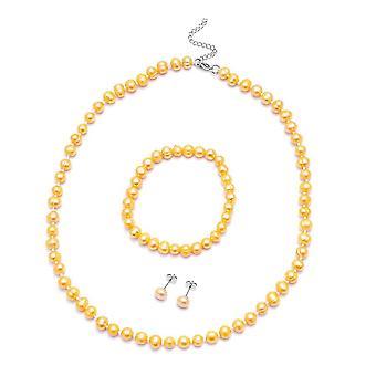 Beaded, Bead String, Stud Jewellery Set for Women Gold Pearl in Steel 0.003ct