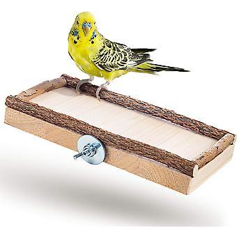 Super Seat Board 20x10cm With Natural Wood For Cockatiel | Parrot Bird Cage Platform | Tray, Bird Accessories Lie Down, Sit, Sleep