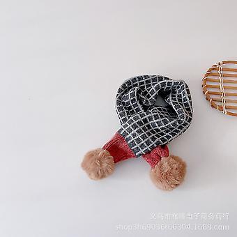 Children Windbreak Season Men And Women Knit Small Plaid Matching Color Wool Ball Thickening Warm Scarf Tide