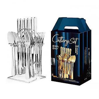 24 pièces comprennent un couteau / fourche / cuillère / couteau en acier inoxydable et un sac de fourche