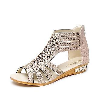 Kvinners Sommer Bred Bohemian Rhinestone Cutout Low Heel Casual Sandals