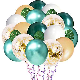 Jungle Theme Party Balloons 50 Pack, 12 pulgadas Green White Gold Latex Balloons With 10pcs Palm Leaves For Tropical, Birthday Party Decorations
