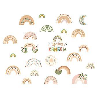 Cartoon Rainbow Baby Adesivi da parete Decalcomanie Sfondo Sfondo Carta da parati decorativa