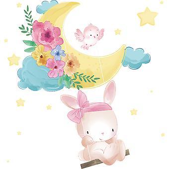 Carino coniglio swing adesivi da parete decalcomanie camera da letto decor wallpaper paste