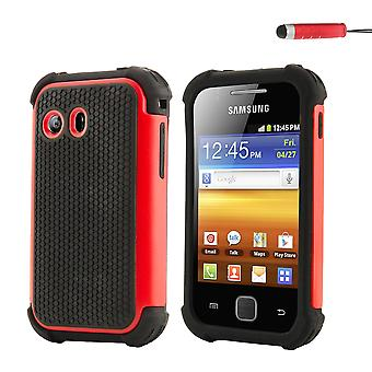 Shock Proof Case + stylus for Samsung Galaxy Y (GT-S5360) - Red