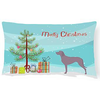 Weimaraner Christmas lerret stoff Dekorative Pillow