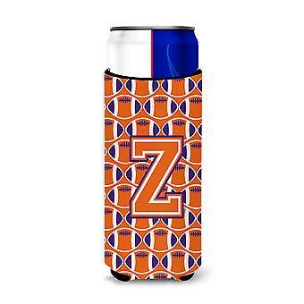 Letter Z Football Orange, White and Regalia Ultra Beverage Insulators for slim c
