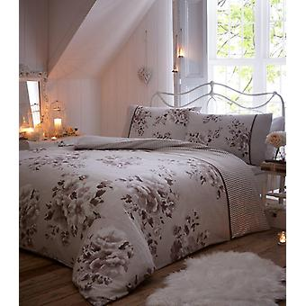 Willow Flower Brushed Cotton Flannelette Duvet Cover Floral Flannel Bedding Set