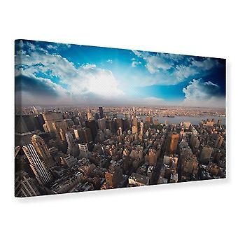 Canvas Print Skyline op de daken van Manhattan