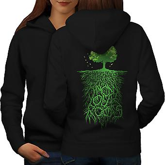 Earth Tree Roots Nature Women BlackHoodie Back | Wellcoda