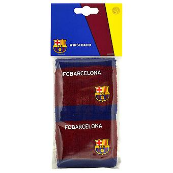 FC Barcelona Official Football Crest Sport Wristbands (Pack Of 2)