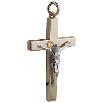 9ct Złota 40x25mm stałe zablokować żółty krzyż i biały krzyż