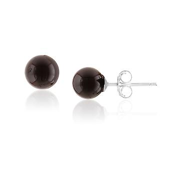 Woman in pearls Onyx Black and Silver 925 earrings