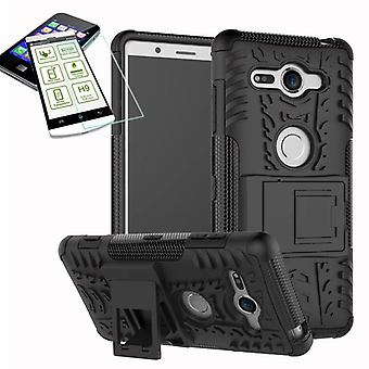 Hybrid case 2 piece black for Sony Xperia XZ2 compact / mini bag case + tempered glass