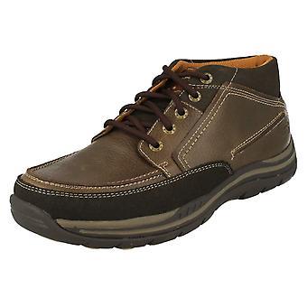 Mens Skechers cuir détendu mousse à mémoire de forme à pied cheville bottes Cason