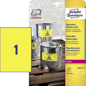 Avery-Zweckform L6111-20 Labels 210 x 297 mm Polyester film Yellow 20 pc(s) Permanent All-purpose labels, Weatherproof labels