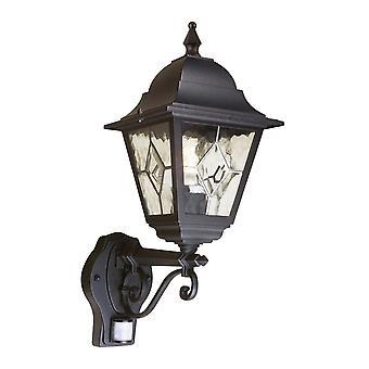 Elstead belysning Norfolk PIR utendørs IP43 ned veggen lanterne i svart
