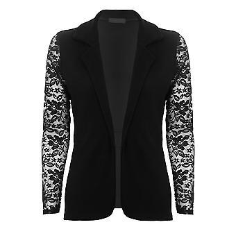 Ladies Open Front Tie taille frisolée texturé Floral dentelle manches Sexy Smart Blazer