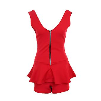 Ladies ärmellos Zip V vordere hintere Peplum kurze Frauen intelligente Playsuit